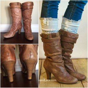 Whiskey leather heeled slouchy boots, sz 9